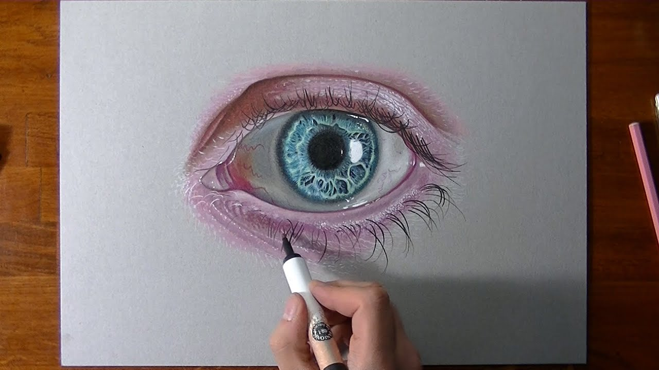 drawing and coloring a crazy realistic eye youtube