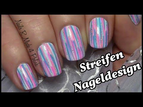 Einfaches Streifen Muster Nageldesign Kurze Nägel Mit Nagellack