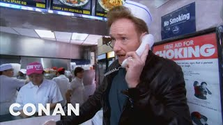 Watch CONAN @ http://teamcoco.com/video. Conan returns to NYC to live the glamorous life of a Chinese food delivery man.