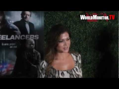 Hilary Cruz arrives at Freelancers Hollywood film premiere