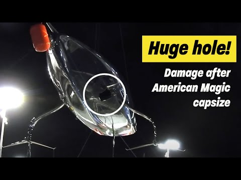 HUGE HOLE in the side of American Magic after capsize