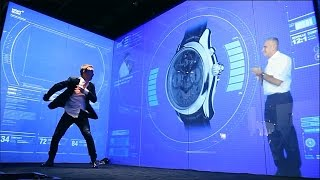 Mont Blanc wristwatch launch with projected switchable smart glass
