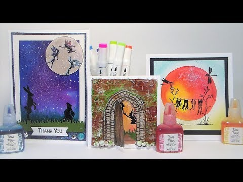 Mystical Backgrounds using Glitter ink, Texture paste and Lavinia Stamps!