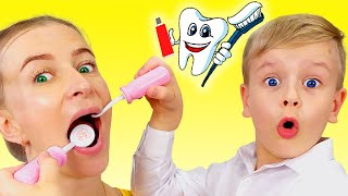 Going To The Dentist Song   Dima Pretend Play Sing-Along to Nursery Rhymes Kids Songs