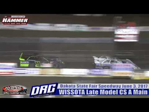 Dakota State Fair Speedway 6/3/17 Don Shaw and Kent Arment battle for the lead