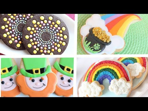 St-Patrick's Day cookie projects featuring rainbows & leprechauns