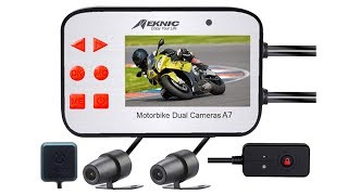 MEKNIC A7 Motorcycle Camera, with GPS Dual Lens 1080P Video Security Motorbike Camera System