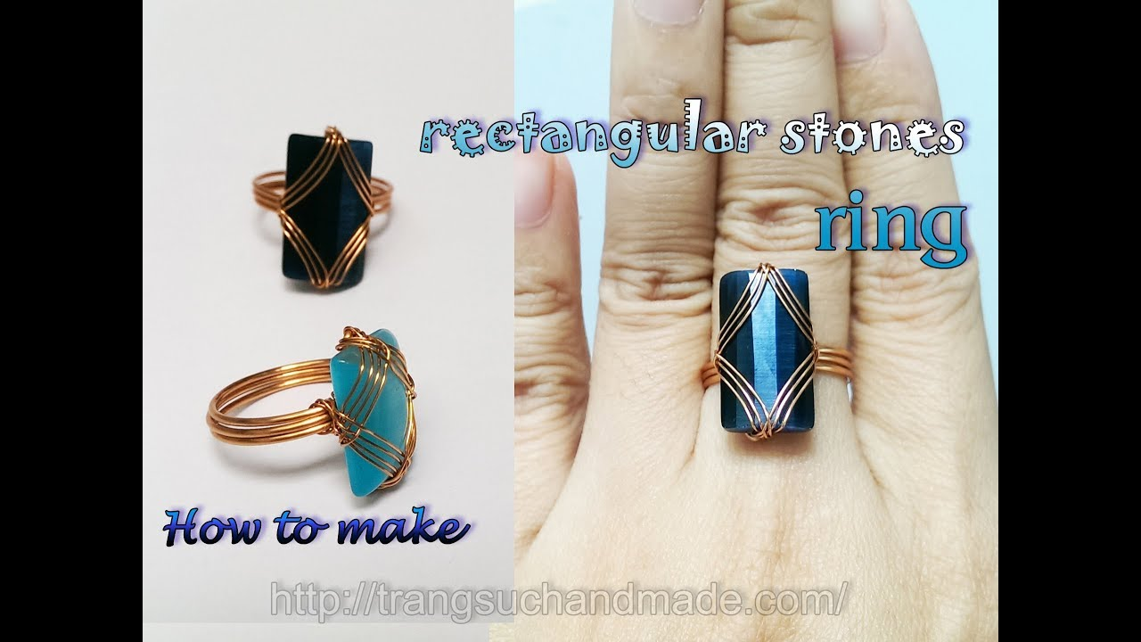 Ring with rectangular cabochon - easy jewelry making from copper ...