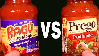 RAGÚ vs. PREGO Italian Pasta Sauce - FoodFights Very Best Spaghetti with out Meatballs Live Review
