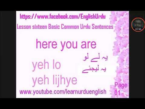 lesson sixteen Learn Urdu Basic Sentences