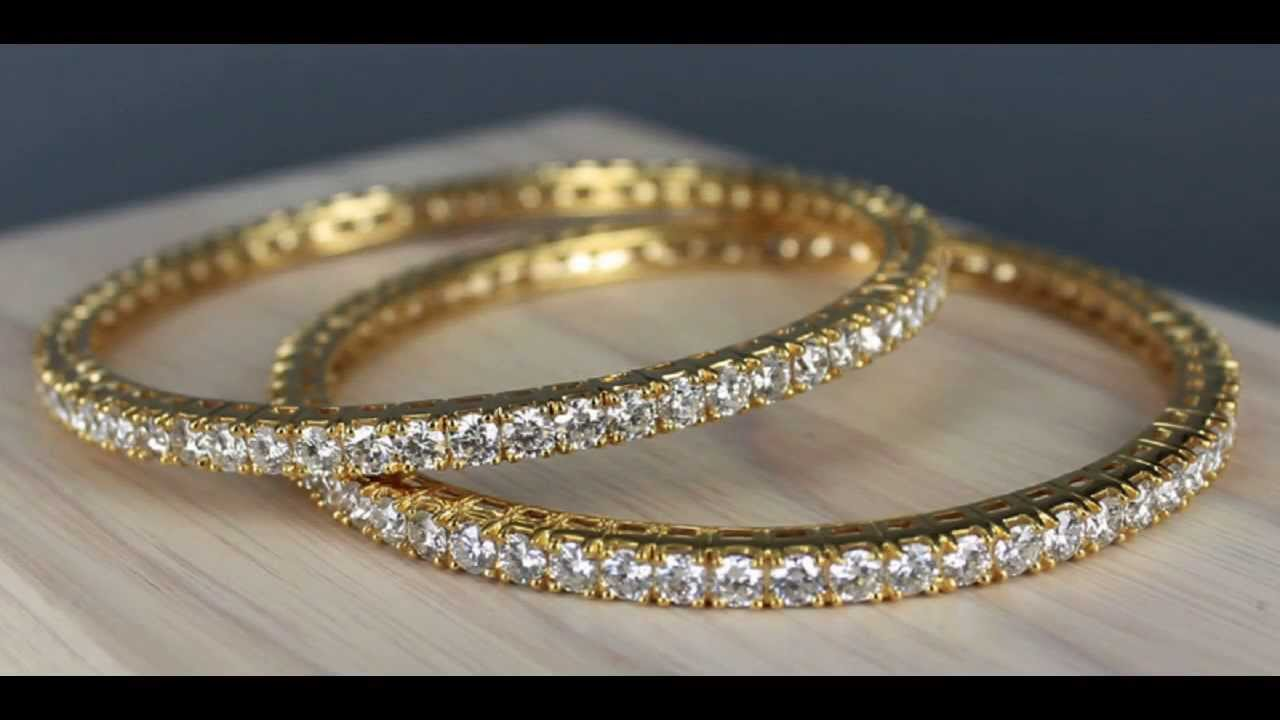 certified line yellow natural ct solid bracelet gold p bangle pair single diamond eternity