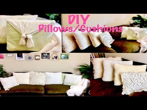 (ODIA) 6 DIY | No Sew/Sew | How to make Basic Throw/ Envelope/ Faux Fur Pillows and Cushion covers