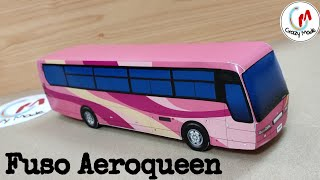 Make easy paper bus | how to make a paper bus | Diy paper bus - Fuso Aeroqueen bus | Crazymade