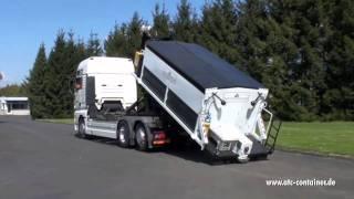 Der ATC Asphalt-Thermo-Container auf Ladeschlitten - Externe Förderschnecke