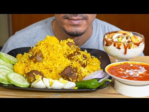 Eating Mutton Handi Biryani, Tomato Gravy, Fruit Nut Dessert - Indian Food Eating ASMR - Mukbang