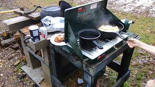 ,,,,,,, Cooking Out Side on the Coleman Stove ,,,,,,,,