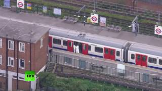LIVE: Aerial view of Parsons Green tube station following explosion - PART 2 thumbnail