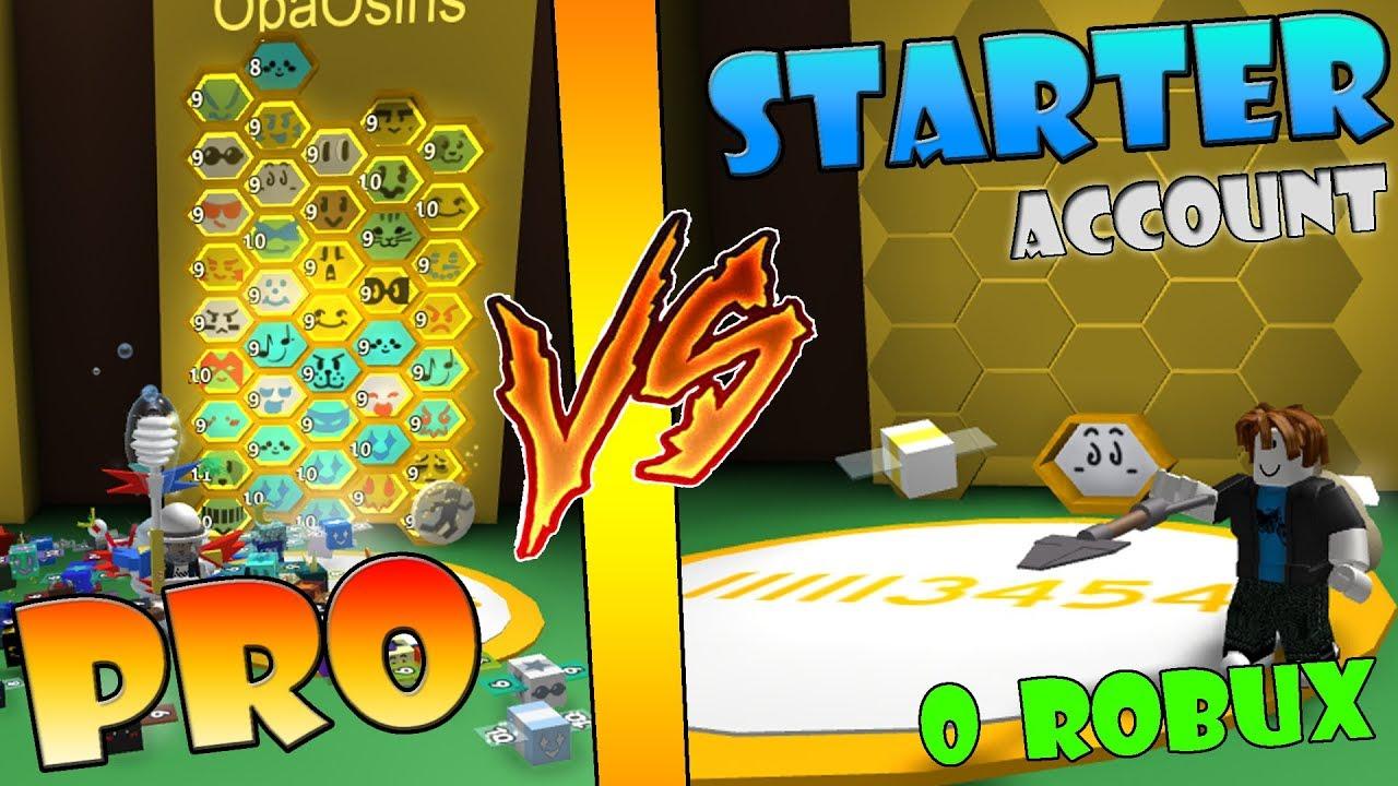 PRO vs STARTER Account ( No Robux ) - Roblox Bee swarm ...