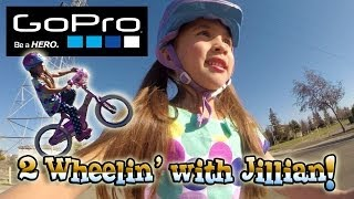 Jillian Learns How to Ride a Bike! GoPro Hero 3+ Black Edition Action!(Today we're taking off the training wheels (stabilizers) on 5-year-old Jillian's bike. She's been wanting to learn how to ride her bike like her big brother., 2014-01-20T21:44:26.000Z)