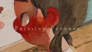 """Painting Process:수채화 일러스트/Watercolor illustration """"I hate you."""" by jiyeon"""