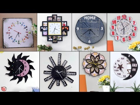 10 Beautiful Design Wall Clock Making || Best Out of Waste