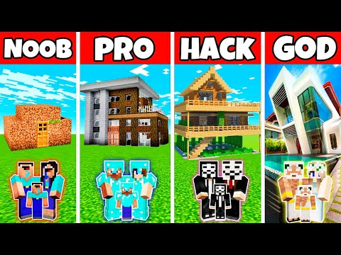 Minecraft: FAMILY MODERN NICE HOUSE BUILD CHALLENGE - NOOB v