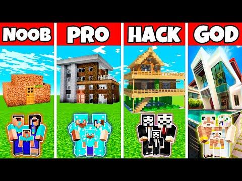 Minecraft: FAMILY MODERN NICE HOUSE BUILD CHALLENGE - NOOB vs PRO vs HACKER vs GOD in Minecraft