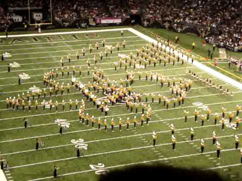 lsu band playing stand up and get crunk during half time.