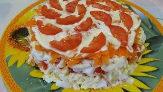 """Салат """"Нежный""""  (плавленный сырок, яйцо, помидор, морковь)"""