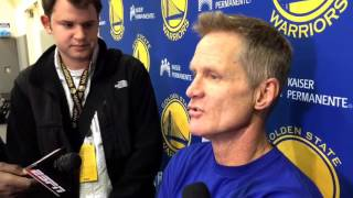 Steve Kerr interview, Golden State Warriors (18-3) practice: Klay's 60 points, Los Angeles Clippers