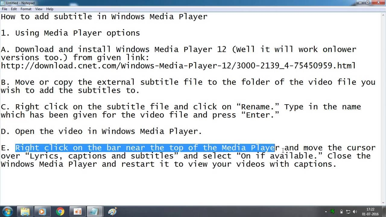 How To Add Subtitle In Windows Media Player Easily Youtube