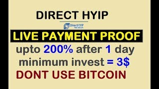 LIVE PAYMENT PROOF || UPTO 200% After 1 Day || NEW HYIP SITE LAUNCHED ||minimum Invest = 3$