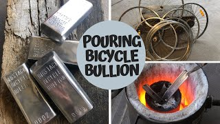 Pouring Bicycle Bullion - Rims To Riches - Melting Aluminium Rims - TRASH TO TREASURE