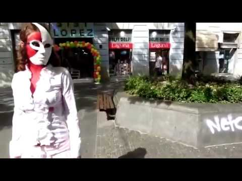 Walking NAKED on the street - Body painting thumbnail