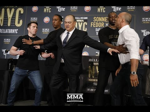 Wanderlei Silva Shoves Chael Sonnen at Bellator NYC Press Conference - MMA Fighting