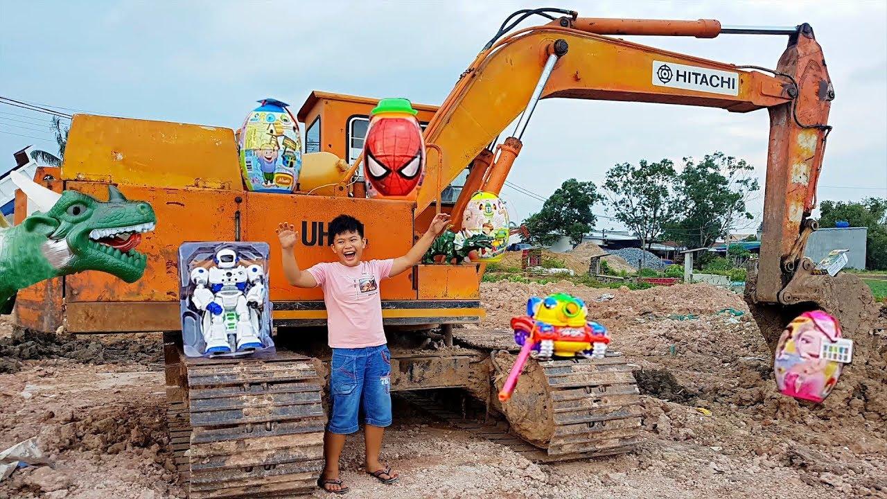 Trò Chơi Trẻ Em Xe Máy Xúc Khổng Lồ ❤ ChiChi ToysReview TV ❤ Đồ Chơi Bài Hát Kids Song