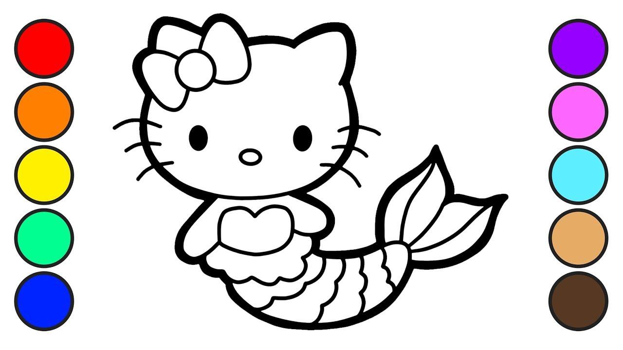 Cara Menggambar Dan Mewarnai Hello Kitty Mermaid Coloring Pages Youtube