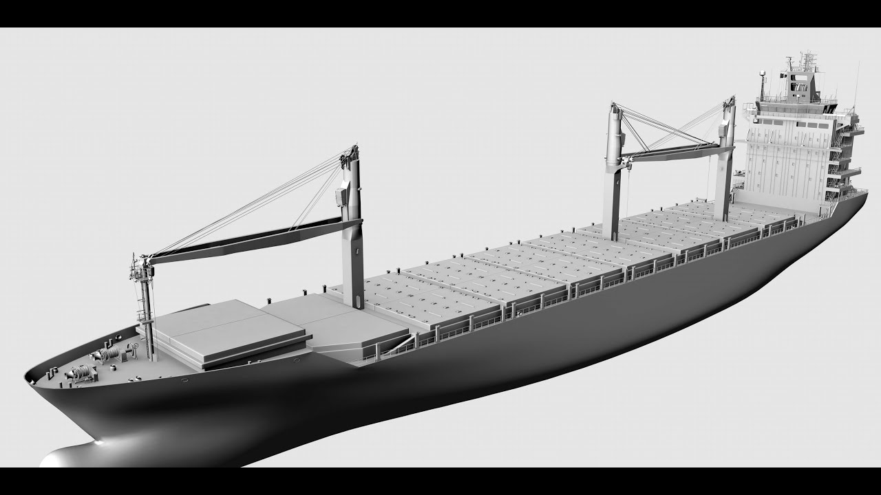 Container Ship Super Detail 3d Model Youtube
