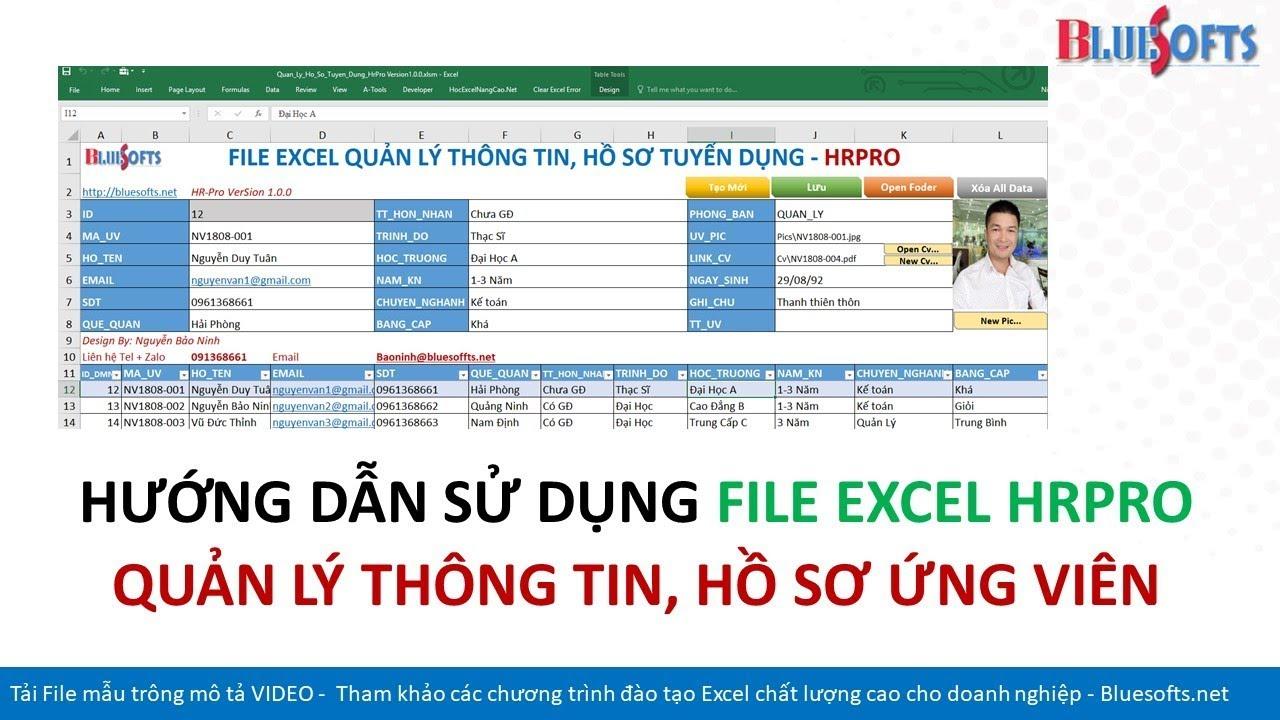 Hướng dẫn sử dụng File Excel quản lý thông tin hồ sơ nhân viên HrPro – Design By Bluesofts
