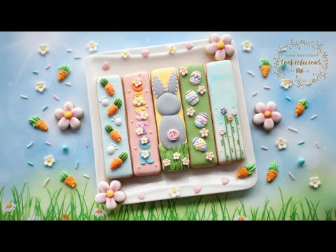 How to decorate EASTER COOKIE STICKS in 5 cute designs ~ BONUS: Royal Icing Roses tutorial inside!