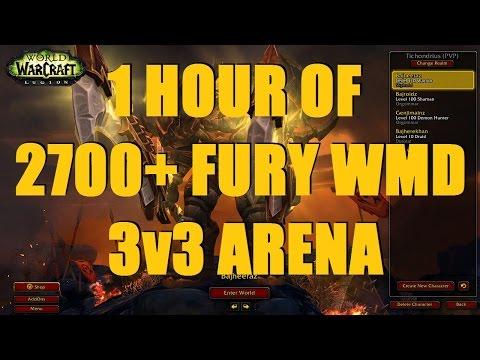 Bajheera - 1 HOUR OF 2700+ FURY/ARCANE WMD 3v3 ARENA- WoW 7.1.5 Legion PvP