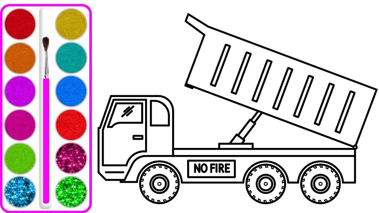 Dạy bé vẽ và tô màu Xe tải chở cá (Truck car drawing and coloring for kids) #1