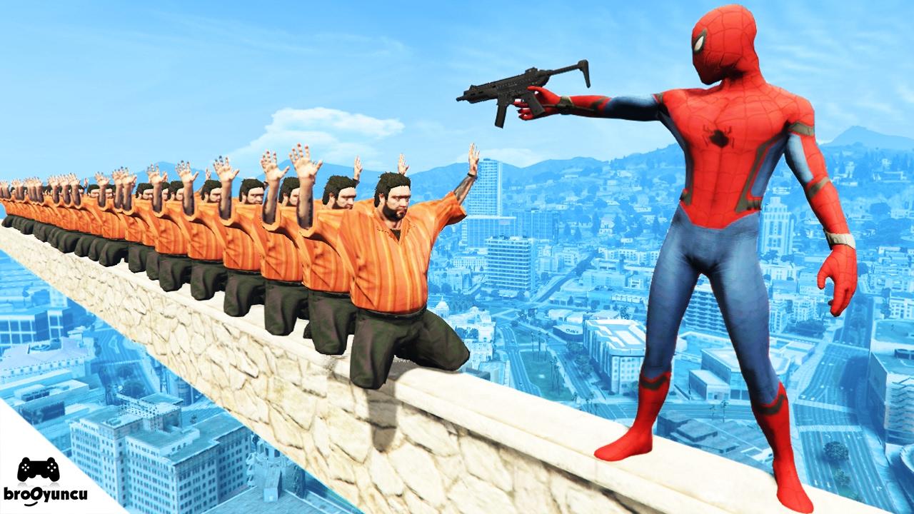 ÖLÜRSEN SUYA DÜŞERSİN WATER RAGDOLLS  Spiderman - GTA 5