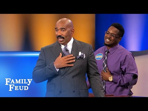 Steve's FIRST KISS on the FEUD!  Family Feud