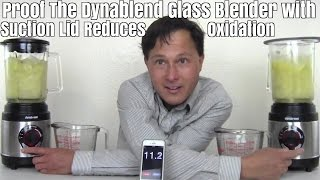 Proof the Dynablend Glass Blender Suction Lid Reduces Oxidation