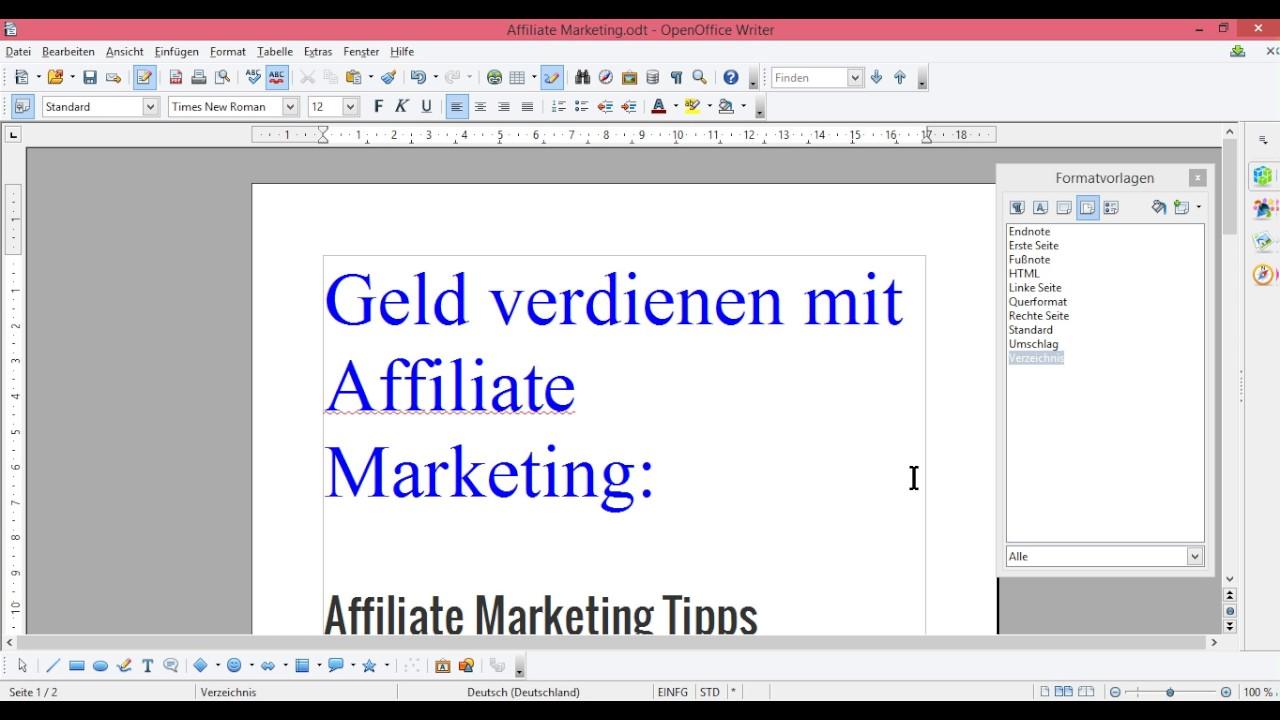 OpenOffice Seitenvorlage -Absatzvorlage -Zeichenvorlage anwenden ...