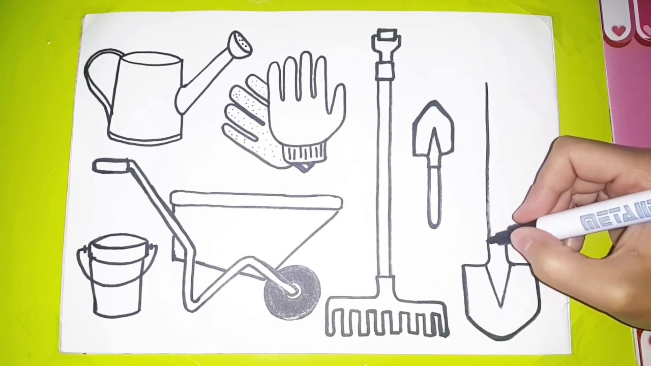 How to draw and color farm tools farm tools for kids