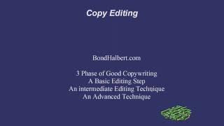Bond Halbert Editing Lessons