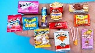28 DIY Barbie MINIATURE IDEAS ~ Mini Pocky, Trident, Potato chips and more!