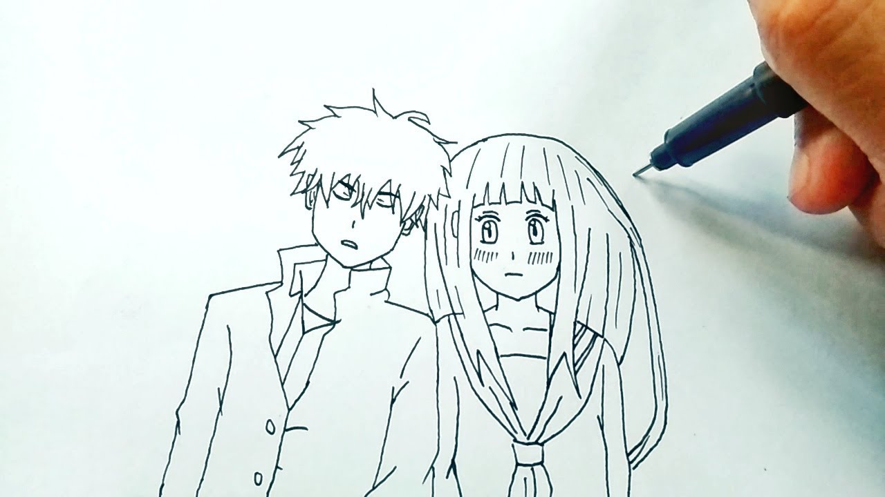 Menggambar pasangan kekasih anime how to draw anime couple youtube